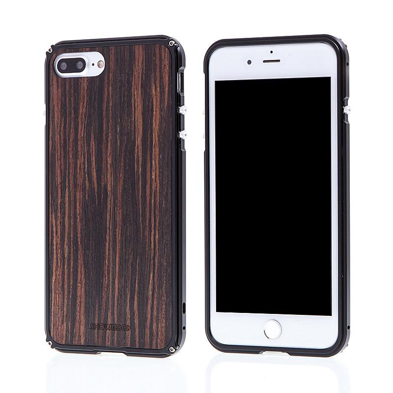 Rámeček / bumper + zadní kryt pro Apple iPhone 7 Plus / 8 Plus - hliník / dřevo - černý / hnědý