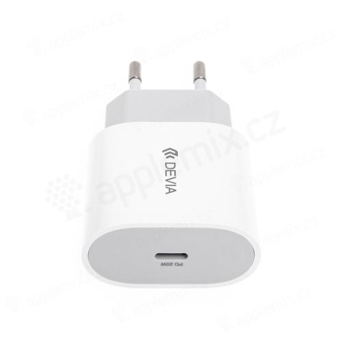 20W EU napájecí adaptér / nabíječka DEVIA - rychlonabíjecí - USB-C pro Apple iPhone / iPad - bílý