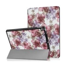 """Pouzdro / kryt pro Apple iPad Pro 10,5"""" / Air 10,5"""" (2019) - funkce chytrého uspání + stojánek - fialové květiny"""