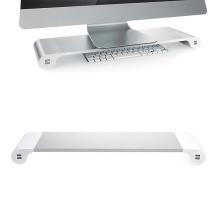 Stojan pod monitor do vel. 22 se 4 USB porty pro nabíjení zařízení - stříbrný / bílý