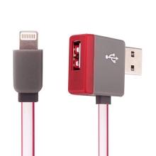 Synchronizační a nabíjecí kabel Lightning - pravoúhlý USB konektor + připojovací USB port - červený - 1m