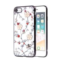 Kryt KAVARO pro Apple iPhone 7 / 8 - s kamínky - plastový - květiny a včely - průhledný / černý