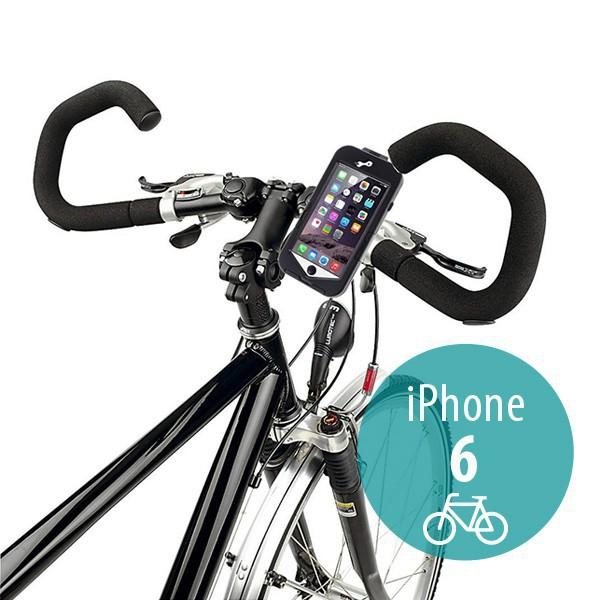 Voděodolné plasto-silikonové pouzdro s 360° otočným držákem na kolo pro Apple iPhone 6 / 6S - černé