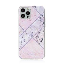 Kryt BABACO pro Apple iPhone 12 / 12 Pro - gumový - růžový mramor