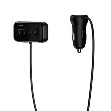 FM transmitter / vysílač + autonabíječka BASEUS - 2x USB + Bluetooth handsfree - LED displej - černý