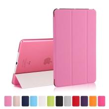 Pouzdro / kryt pro Apple iPad 9,7 (2017-2018) - funkce chytrého uspání + stojánek - růžové / průsvitné růžové