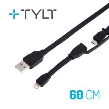 Synchronizažní a nabíjecí kabel TYLT 2v1 - Lightning MFi + Micro USB - 60cm - černý