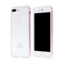Rámeček / bumper s ochranou kamery pro Apple iPhone 7 Plus / 8 Plus - guma / hliník - Rose Gold