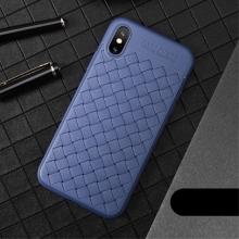 Kryt USAMS pro Apple iPhone X - perforovaný / s otvory - pletená textura - gumový - modrý