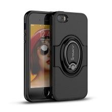 Kryt IPAKY pro Apple iPhone 5 / 5S / SE - plastový / gumový - stojánek / kroužek - černý