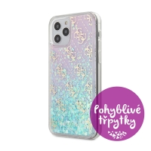 Kryt GUESS 4G Liquid Glitter pro Apple iPhone 12 / 12 Pro - plastový - růžové třpytky