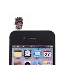 Antiprachová záslepka na jack konektor pro Apple iPhone a daší zařízení - kovová lebka s třpytivými kamínky
