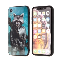 Kryt MARVEL pro Apple iPhone Xr - Rocket - sklo / guma